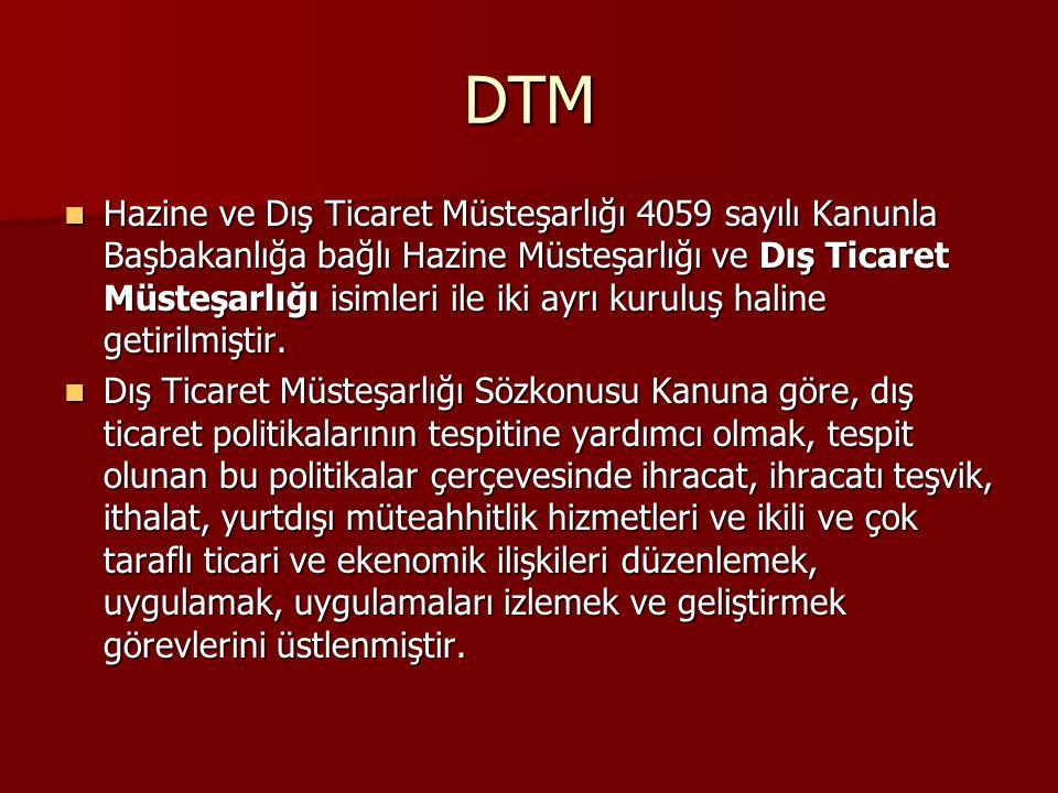 DTM Hazine ve Dış Ticaret Müsteşarlığı 4059 sayılı Kanunla Başbakanlığa bağlı Hazine Müsteşarlığı ve Dış Ticaret Müsteşarlığı isimleri ile iki ayrı ku
