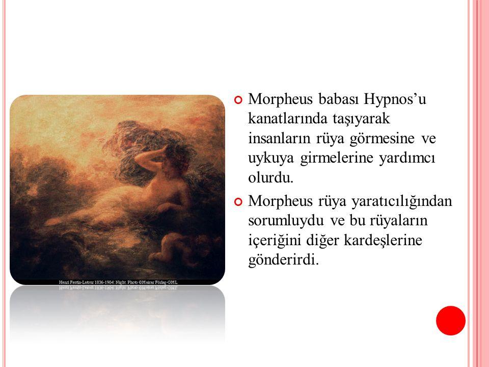 Morpheus babası Hypnos'u kanatlarında taşıyarak insanların rüya görmesine ve uykuya girmelerine yardımcı olurdu. Morpheus rüya yaratıcılığından soruml