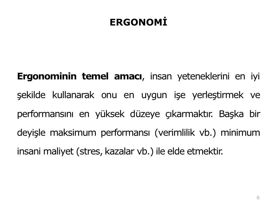 ERGONOMİ Ergonomi iş gören ile iş uyumunun sağlanmasıdır (işin insana uyumu).