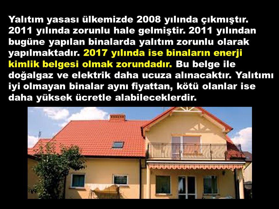 Yalıtım yasası ülkemizde 2008 yılında çıkmıştır. 2011 yılında zorunlu hale gelmiştir. 2011 yılından bugüne yapılan binalarda yalıtım zorunlu olarak ya