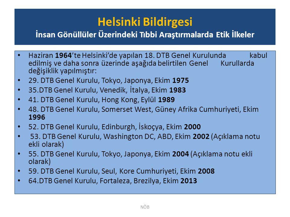 Haziran 1964'te Helsinki'de yapılan 18. DTB Genel Kurulunda kabul edilmiş ve daha sonra üzerinde aşağıda belirtilen Genel Kurullarda değişiklik yapılm