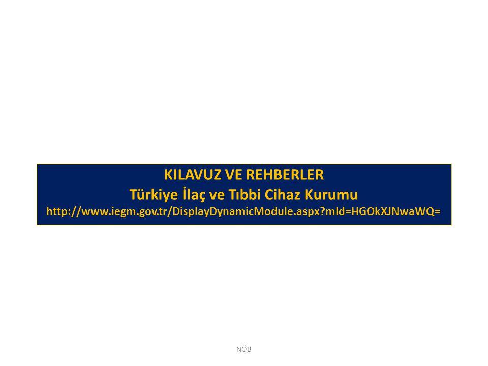 KILAVUZ VE REHBERLER Türkiye İlaç ve Tıbbi Cihaz Kurumu http://www.iegm.gov.tr/DisplayDynamicModule.aspx?mId=HGOkXJNwaWQ= NÖB