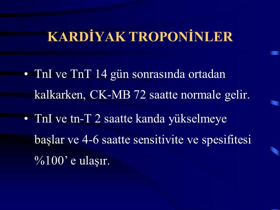 KARDİYAK TROPONİNLER TnI ve TnT 14 gün sonrasında ortadan kalkarken, CK-MB 72 saatte normale gelir. TnI ve tn-T 2 saatte kanda yükselmeye başlar ve 4-