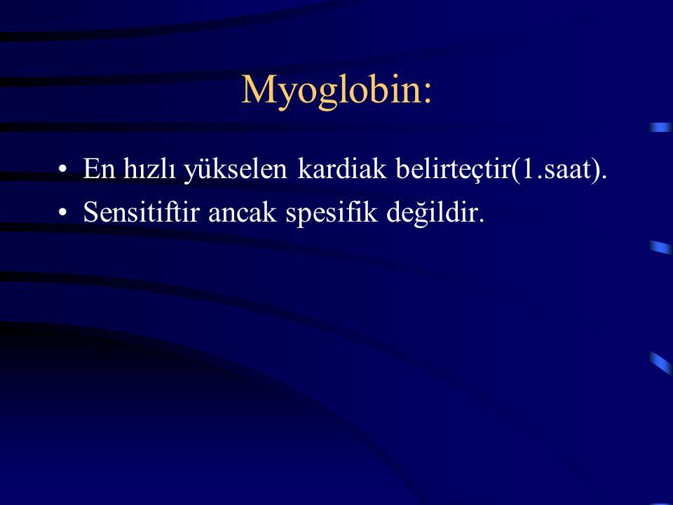 Myoglobin: En hızlı yükselen kardiak belirteçtir(1.saat). Sensitiftir ancak spesifik değildir.