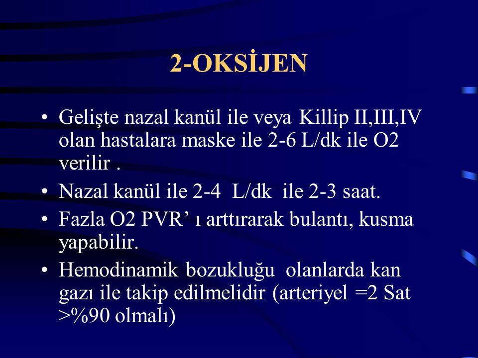 2-OKSİJEN Gelişte nazal kanül ile veya Killip II,III,IV olan hastalara maske ile 2-6 L/dk ile O2 verilir. Nazal kanül ile 2-4 L/dk ile 2-3 saat. Fazla