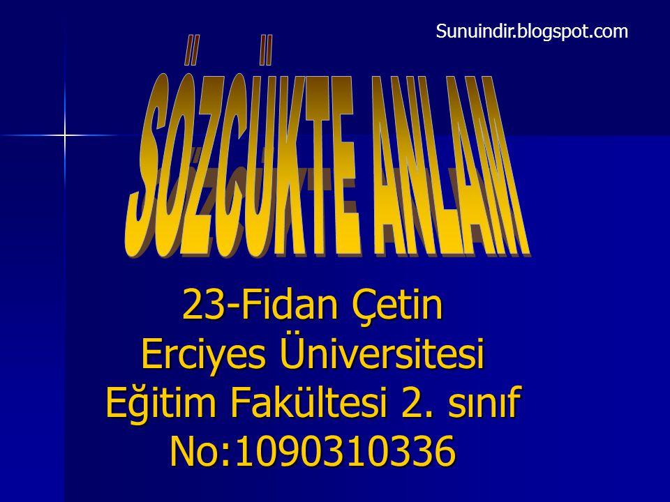 23-Fidan Çetin Erciyes Üniversitesi Eğitim Fakültesi 2. sınıf No:1090310336 Sunuindir.blogspot.com