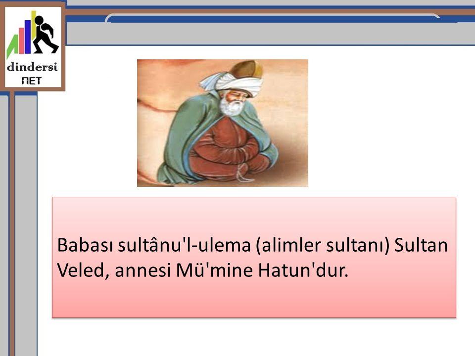 Babası sultânu'l-ulema (alimler sultanı) Sultan Veled, annesi Mü'mine Hatun'dur.