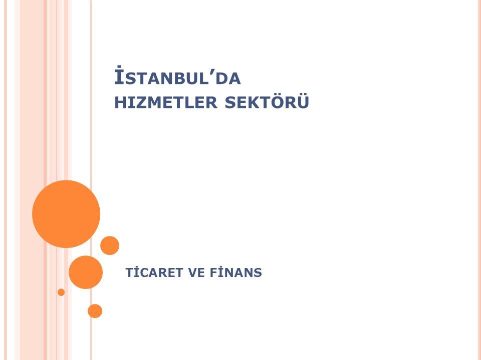 İstanbul'da hizmetler sektöründe en büyük pay %81 ile Ulaştırma ve Depolama, Haberleşme ve İletişim ile Toptan ve Perakende Ticaret hizmetlerini kapsayan dağıtıcı hizmetler sektöründedir.