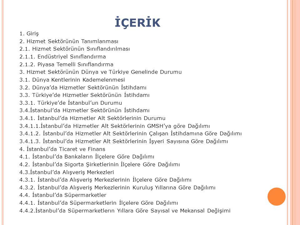 1.GİRİŞ Hizmet sektörü İstanbul ekonomisinin temel sektörüdür.