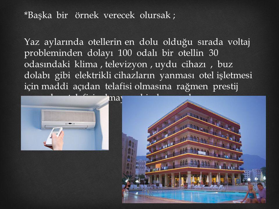 *Başka bir örnek verecek olursak ; Yaz aylarında otellerin en dolu olduğu sırada voltaj probleminden dolayı 100 odalı bir otellin 30 odasındaki klima,