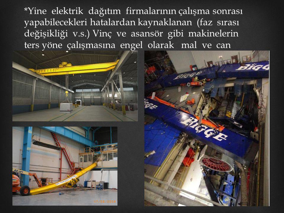 *Yine elektrik dağıtım firmalarının çalışma sonrası yapabilecekleri hatalardan kaynaklanan (faz sırası değişikliği v.s.) Vinç ve asansör gibi makinele