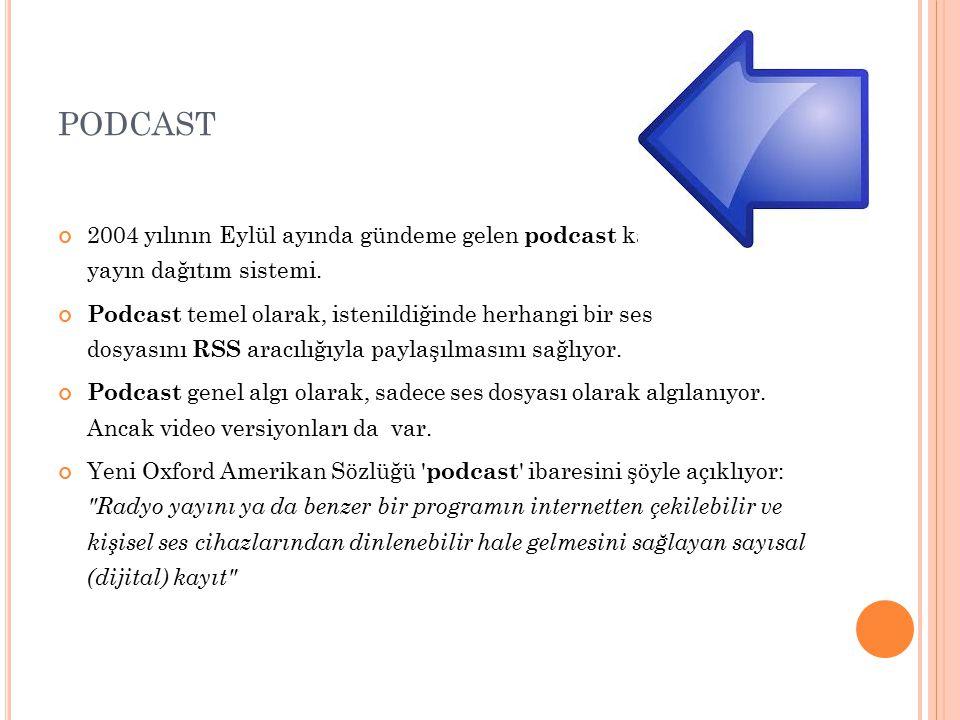 PODCAST 2004 yılının Eylül ayında gündeme gelen podcast kavramı yeni bir yayın dağıtım sistemi.