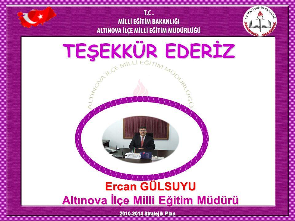 2010-2014 Stratejik Plan TEŞEKKÜR EDERİZ Ercan GÜLSUYU Altınova İlçe Milli Eğitim Müdürü