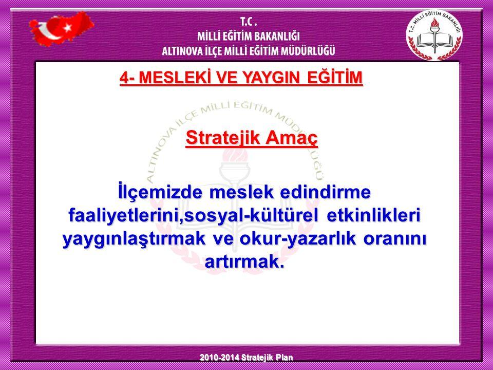 2010-2014 Stratejik Plan Stratejik Amaç 4- MESLEKİ VE YAYGIN EĞİTİM İlçemizde meslek edindirme faaliyetlerini,sosyal-kültürel etkinlikleri yaygınlaştı