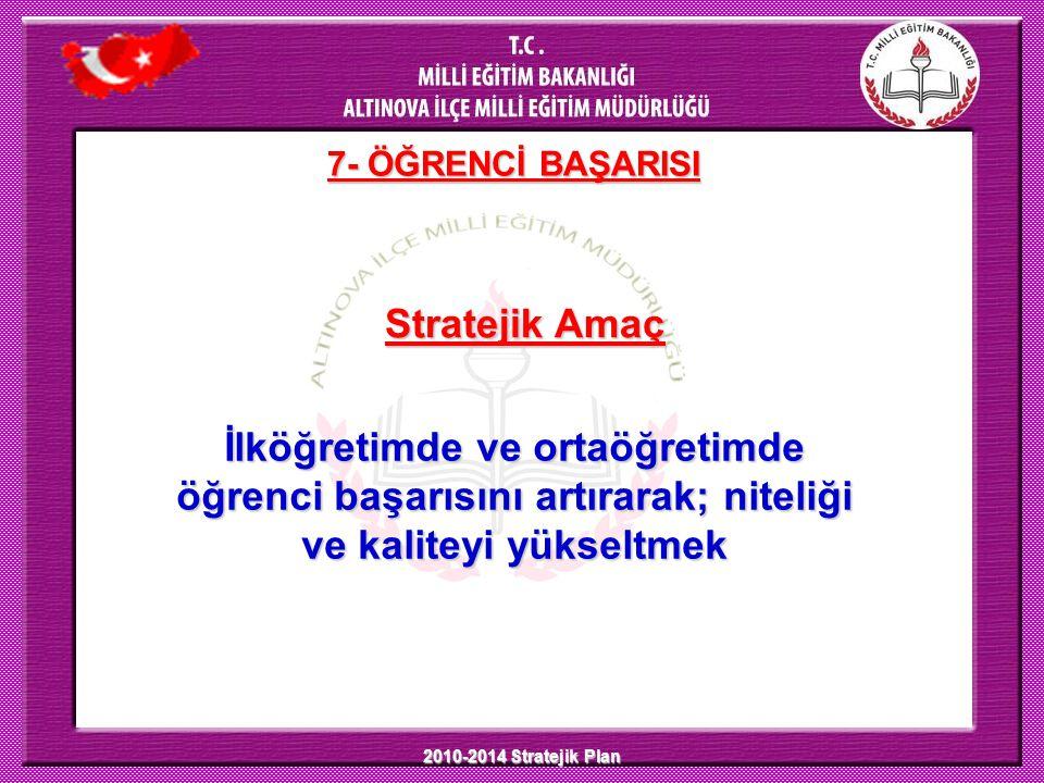 2010-2014 Stratejik Plan 7- ÖĞRENCİ BAŞARISI Stratejik Amaç İlköğretimde ve ortaöğretimde öğrenci başarısını artırarak; niteliği ve kaliteyi yükseltmek