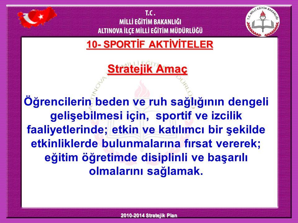 2010-2014 Stratejik Plan 10- SPORTİF AKTİVİTELER Stratejik Amaç Öğrencilerin beden ve ruh sağlığının dengeli gelişebilmesi için, sportif ve izcilik fa