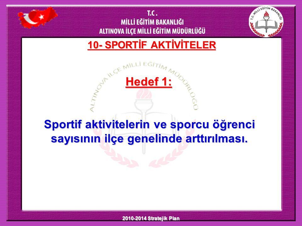 2010-2014 Stratejik Plan Hedef 1: 10- SPORTİF AKTİVİTELER Sportif aktivitelerin ve sporcu öğrenci sayısının ilçe genelinde arttırılması.