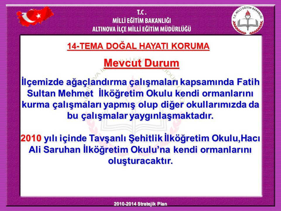 2010-2014 Stratejik Plan 14-TEMA DOĞAL HAYATI KORUMA Mevcut Durum İlçemizde ağaçlandırma çalışmaları kapsamında Fatih Sultan Mehmet İlköğretim Okulu k