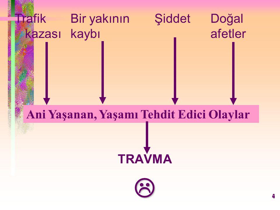 5 TRAVMA SONRASI STRES TEPKİLERİ Travma Sonrası Stres Tepkilerini üç ana grupta toplamak mümkündür.