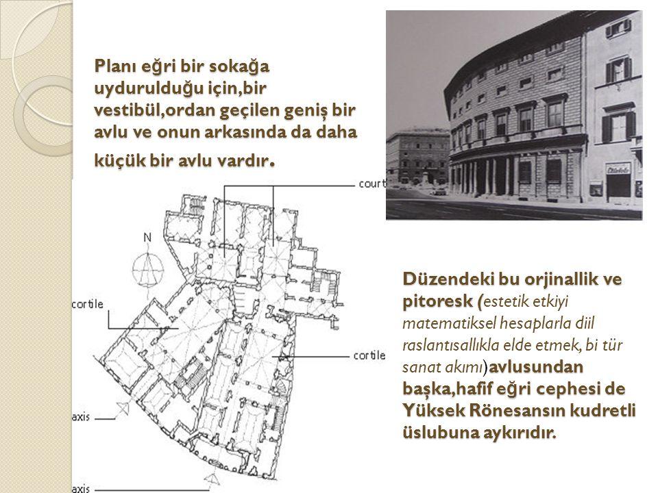 Planı e ğ ri bir soka ğ a uyduruldu ğ u için,bir vestibül,ordan geçilen geniş bir avlu ve onun arkasında da daha küçük bir avlu vardır.
