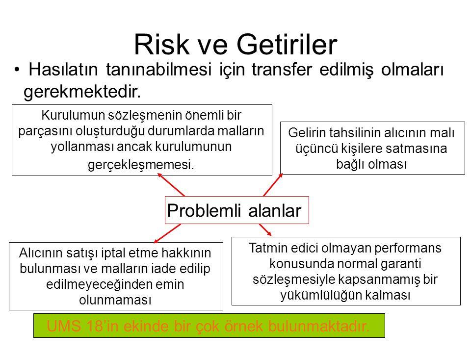 Risk ve Getiriler Hasılatın tanınabilmesi için transfer edilmiş olmaları gerekmektedir.