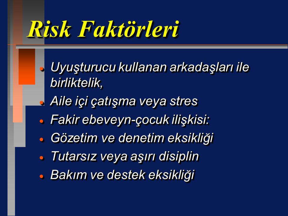 Risk Faktörleri  Uyuşturucu kullanan arkadaşları ile birliktelik,  Aile içi çatışma veya stres  Fakir ebeveyn-çocuk ilişkisi:  Gözetim ve denetim eksikliği  Tutarsız veya aşırı disiplin  Bakım ve destek eksikliği  Uyuşturucu kullanan arkadaşları ile birliktelik,  Aile içi çatışma veya stres  Fakir ebeveyn-çocuk ilişkisi:  Gözetim ve denetim eksikliği  Tutarsız veya aşırı disiplin  Bakım ve destek eksikliği