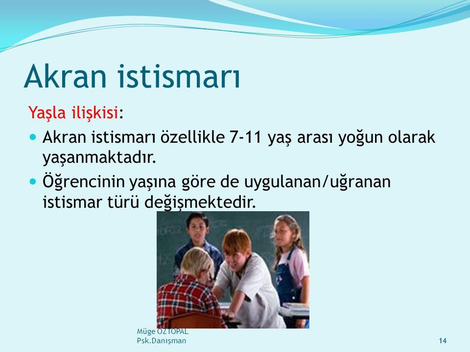 Müge ÖZTOPAL Psk.Danışman14 Akran istismarı Yaşla ilişkisi: Akran istismarı özellikle 7-11 yaş arası yoğun olarak yaşanmaktadır.
