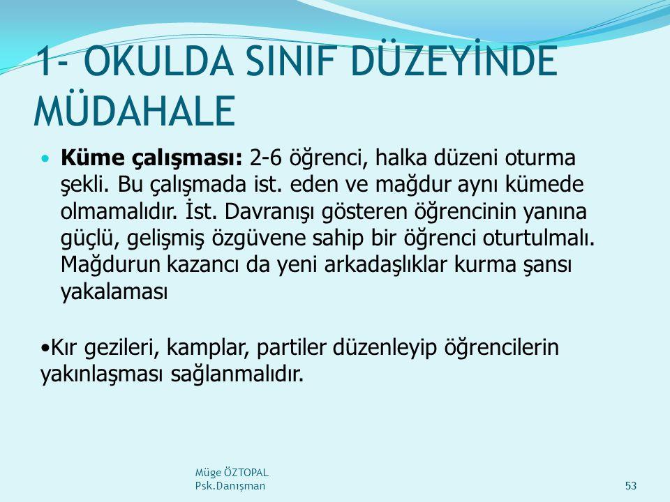 Müge ÖZTOPAL Psk.Danışman53 1- OKULDA SINIF DÜZEYİNDE MÜDAHALE Küme çalışması: 2-6 öğrenci, halka düzeni oturma şekli.