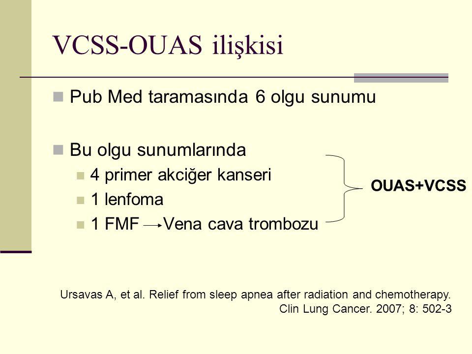 VCSS-OUAS ilişkisi Pub Med taramasında 6 olgu sunumu Bu olgu sunumlarında 4 primer akciğer kanseri 1 lenfoma 1 FMF Vena cava trombozu OUAS+VCSS Ursavas A, et al.