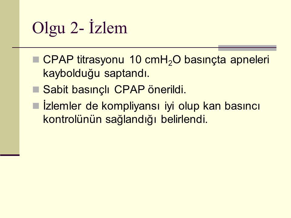 Olgu 2- İzlem CPAP titrasyonu 10 cmH 2 O basınçta apneleri kaybolduğu saptandı.