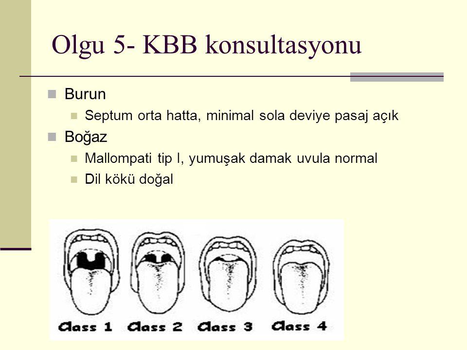 Olgu 5- KBB konsultasyonu Burun Septum orta hatta, minimal sola deviye pasaj açık Boğaz Mallompati tip I, yumuşak damak uvula normal Dil kökü doğal