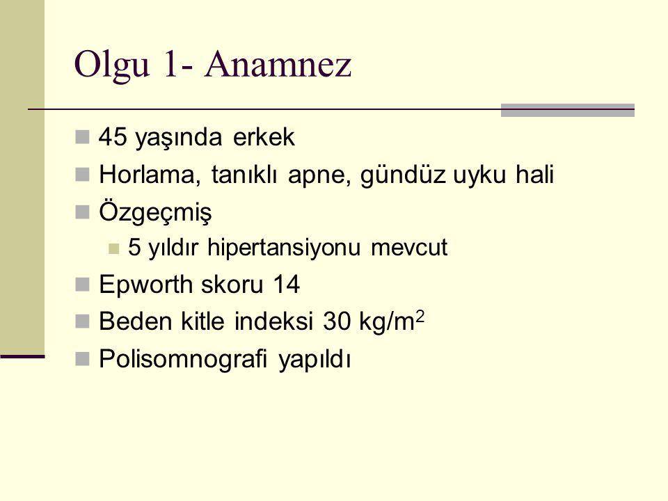Olgu 7-Anamnez 45 yaşında erkek Horlama, tanıklı apne, gündüz aşırı uyku hali BKİ: 27 kg/m 2 Epworth 12 Ek hastalık öyküsü yok