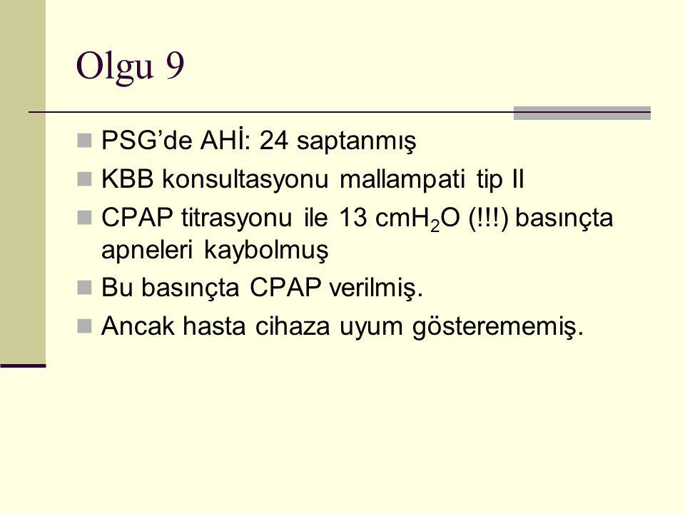 Olgu 9 PSG'de AHİ: 24 saptanmış KBB konsultasyonu mallampati tip II CPAP titrasyonu ile 13 cmH 2 O (!!!) basınçta apneleri kaybolmuş Bu basınçta CPAP verilmiş.