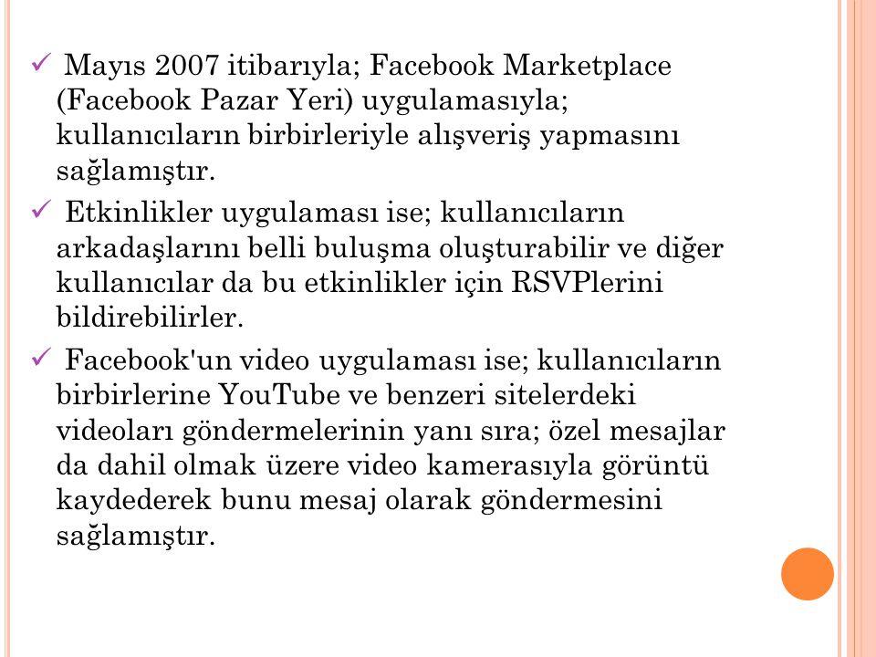 Mayıs 2007 itibarıyla; Facebook Marketplace (Facebook Pazar Yeri) uygulamasıyla; kullanıcıların birbirleriyle alışveriş yapmasını sağlamıştır.
