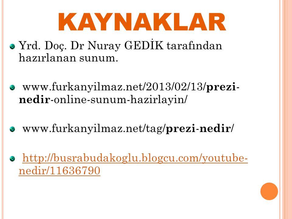 KAYNAKLAR Yrd. Doç. Dr Nuray GEDİK tarafından hazırlanan sunum.