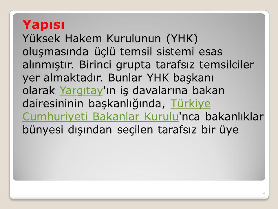 Yapısı Yüksek Hakem Kurulunun (YHK) oluşmasında üçlü temsil sistemi esas alınmıştır.