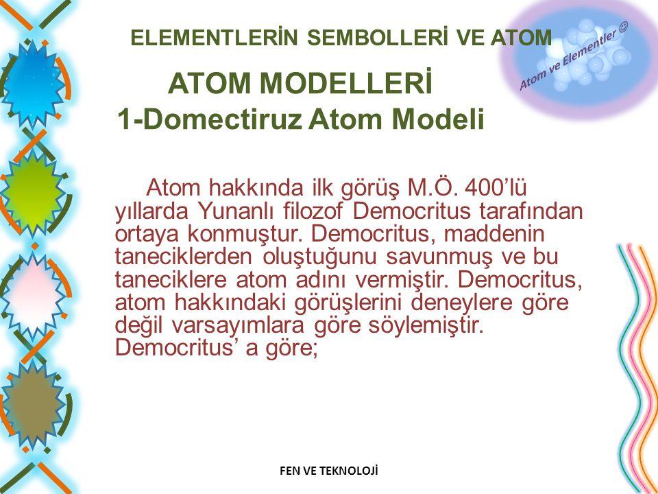 ELEMENTLERİN SEMBOLLERİ VE ATOM ATOM MODELLERİ 1-Domectiruz Atom Modeli Atom hakkında ilk görüş M.Ö. 400'lü yıllarda Yunanlı filozof Democritus tarafı