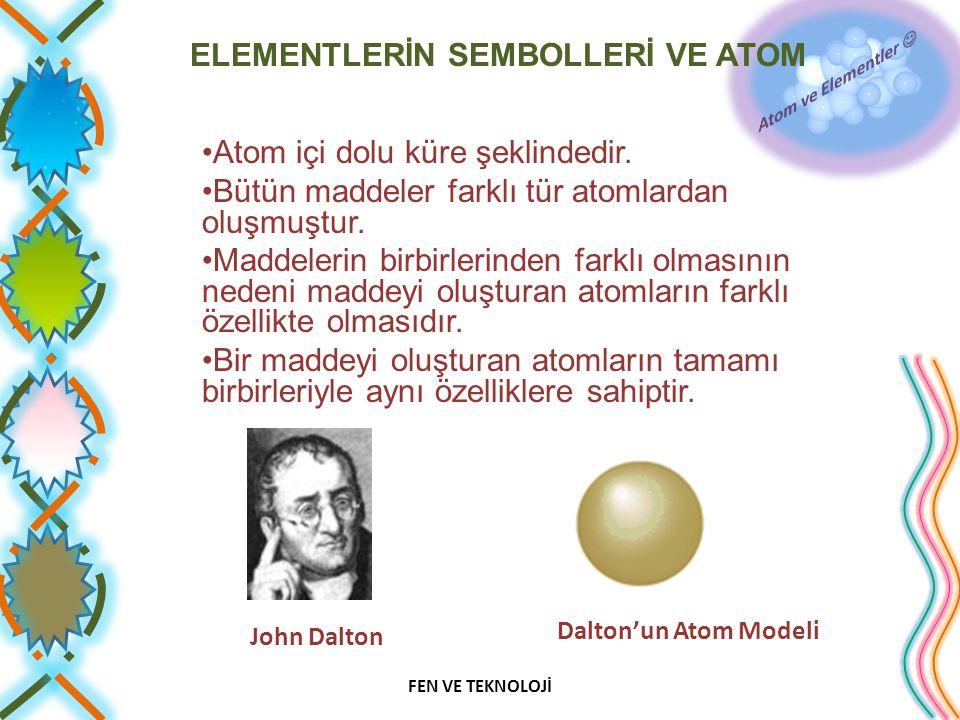 ELEMENTLERİN SEMBOLLERİ VE ATOM Atom içi dolu küre şeklindedir. Bütün maddeler farklı tür atomlardan oluşmuştur. Maddelerin birbirlerinden farklı olma