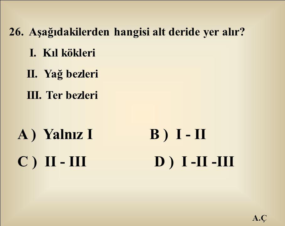 A.Ç 26. Aşağıdakilerden hangisi alt deride yer alır? I. Kıl kökleri II. Yağ bezleri III. Ter bezleri A ) Yalnız I B ) I - II C ) II - III D ) I -II -I