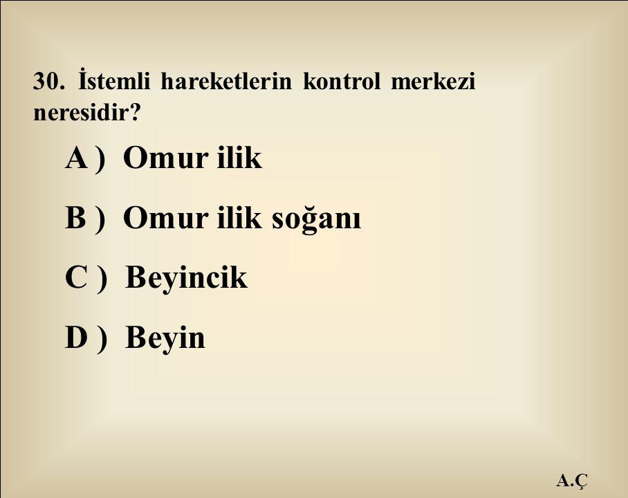A.Ç 30. İstemli hareketlerin kontrol merkezi neresidir? A ) Omur ilik B ) Omur ilik soğanı C ) Beyincik D ) Beyin