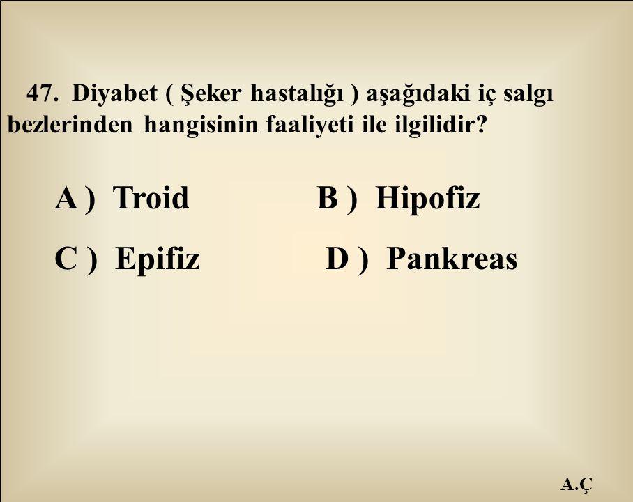 A.Ç 47. Diyabet ( Şeker hastalığı ) aşağıdaki iç salgı bezlerinden hangisinin faaliyeti ile ilgilidir? A ) Troid B ) Hipofiz C ) Epifiz D ) Pankreas
