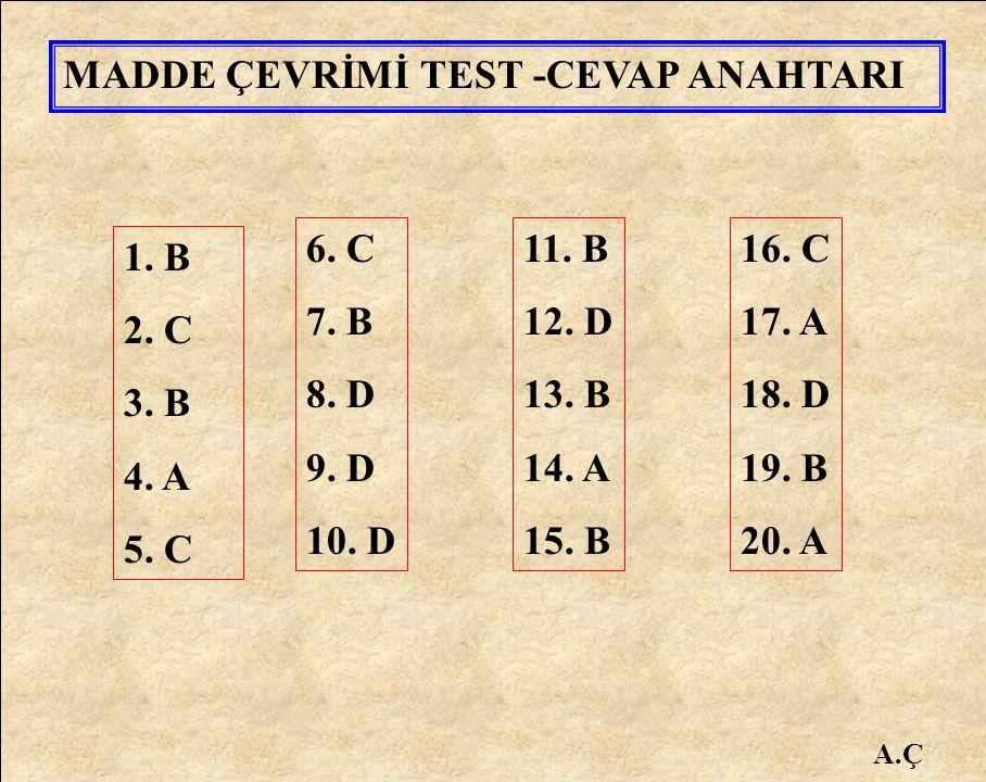1. B 2. C 3. B 4. A 5. C 6. C 7. B 8. D 9. D 10. D 11. B 12. D 13. B 14. A 15. B 16. C 17. A 18. D 19. B 20. A MADDE ÇEVRİMİ TEST -CEVAP ANAHTARI