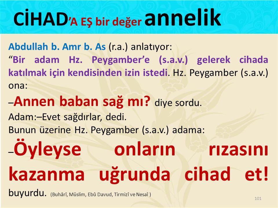 """Abdullah b. Amr b. As (r.a.) anlatıyor: """"Bir adam Hz. Peygamber'e (s.a.v.) gelerek cihada katılmak için kendisinden izin istedi. Hz. Peygamber (s.a.v."""
