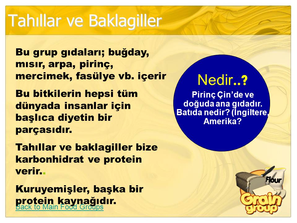 Tahıllar ve Baklagiller Back to Main Food Groups Bu grup gıdaları; buğday, mısır, arpa, pirinç, mercimek, fasülye vb. içerir Bu bitkilerin hepsi tüm d