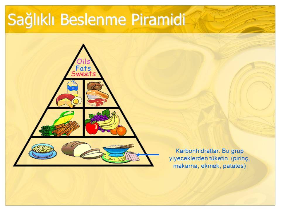 Sağlıklı Beslenme Piramidi Karbonhidratlar: Bu grup yiyeceklerden tüketin. (pirinç, makarna, ekmek, patates)