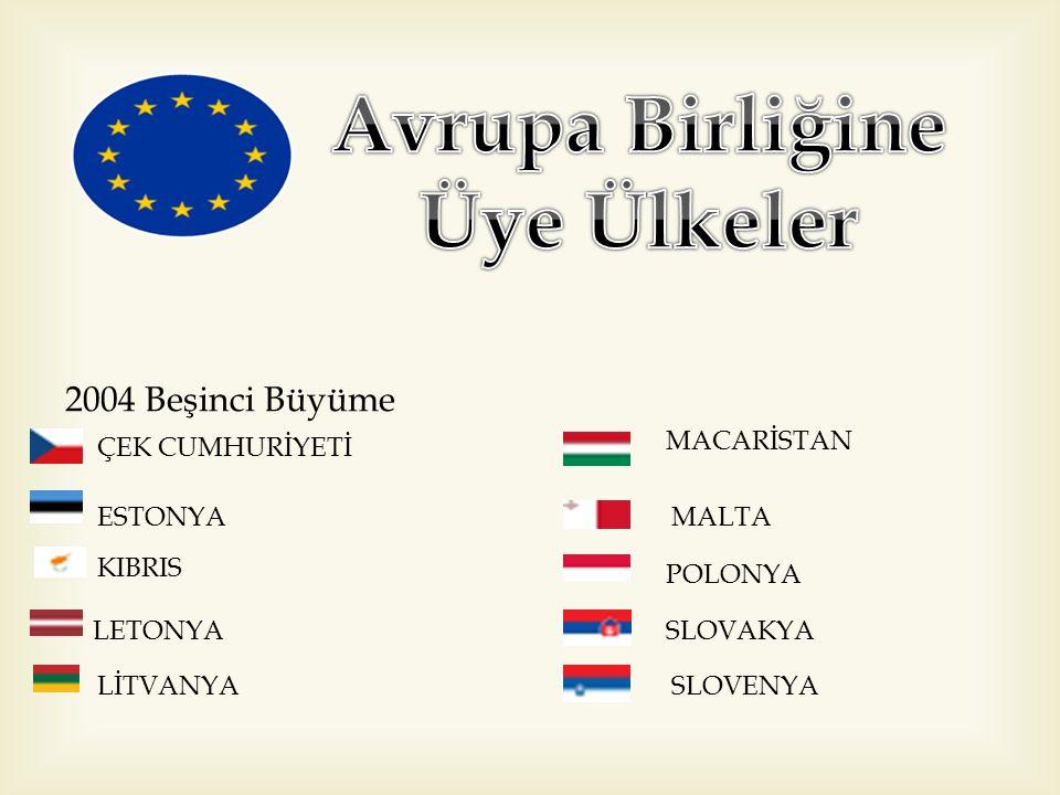 2004 Beşinci Büyüme ÇEK CUMHURİYETİ ESTONYA KIBRIS LETONYA LİTVANYA MACARİSTAN MALTA POLONYA SLOVAKYA SLOVENYA