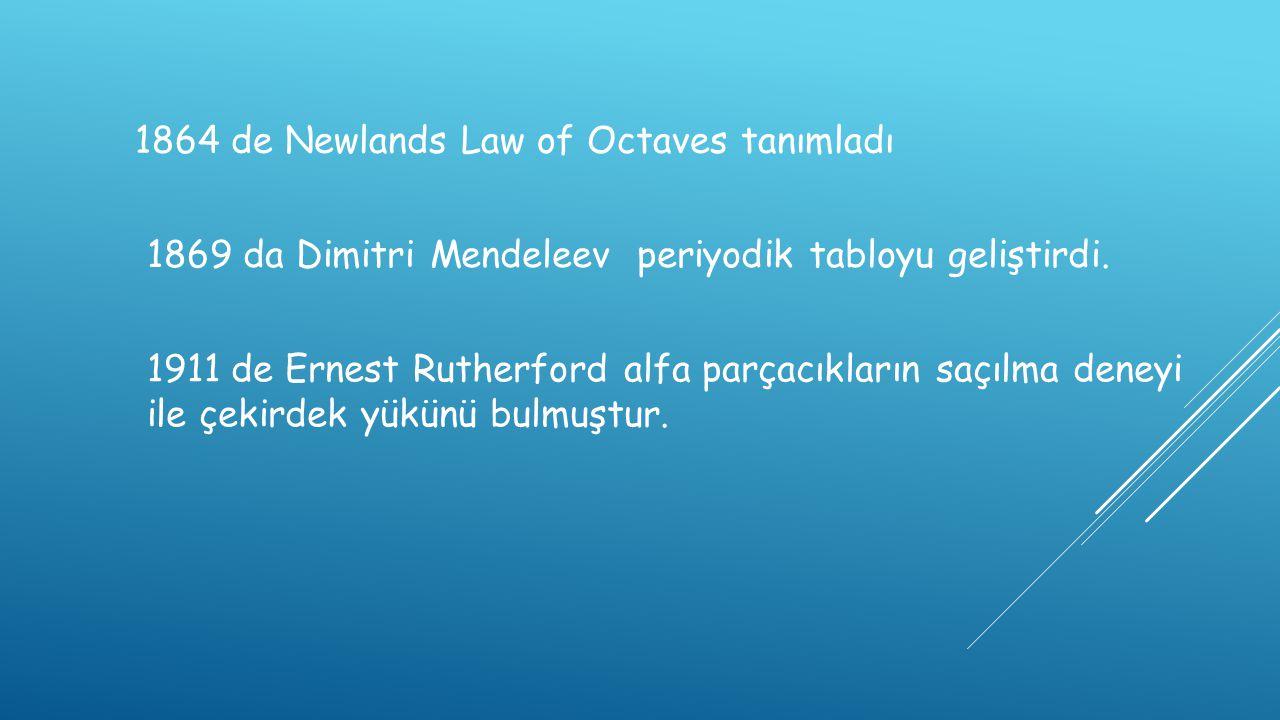 1864 de Newlands Law of Octaves tanımladı 1869 da Dimitri Mendeleev periyodik tabloyu geliştirdi. 1911 de Ernest Rutherford alfa parçacıkların saçılma