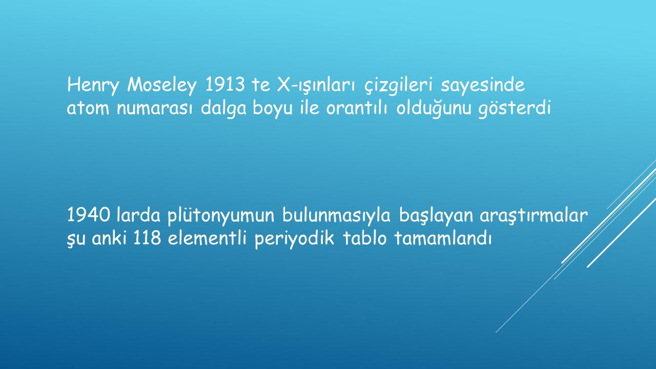 Henry Moseley 1913 te X-ışınları çizgileri sayesinde atom numarası dalga boyu ile orantılı olduğunu gösterdi 1940 larda plütonyumun bulunmasıyla başla