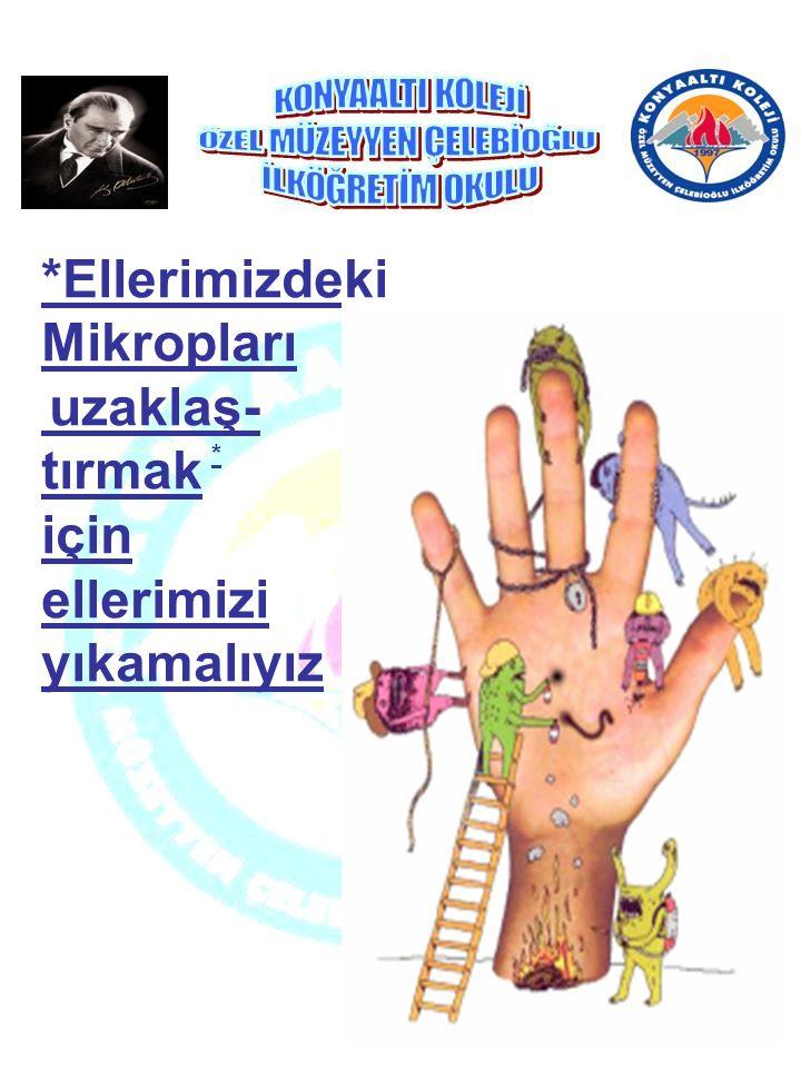 *Ellerimizdeki Mikropları uzaklaş- tırmak için ellerimizi yıkamalıyız *