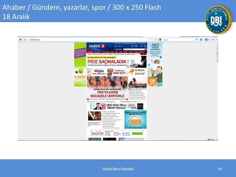 Dijital Büro İstanbul14 Ahaber / Gündem, yazarlar, spor / 300 x 250 Flash 18 Aralık